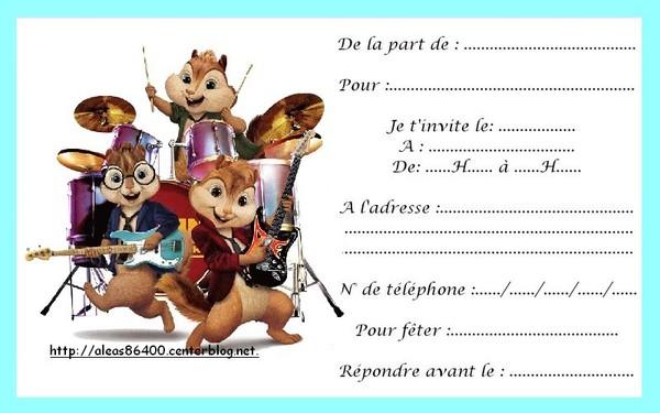 Carte Invitation Alvin Et Les Chipmunks 01