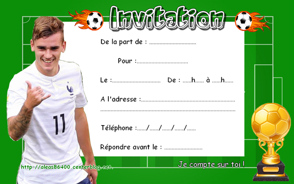 Turbo invitations Foot Antoine Griezmann 01 XN09