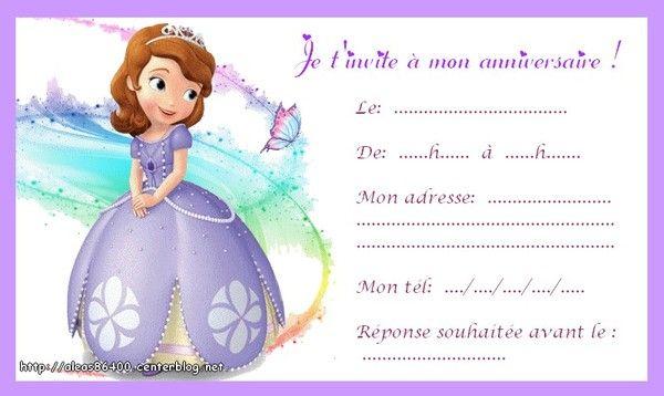 cartes invitations princesse sofia