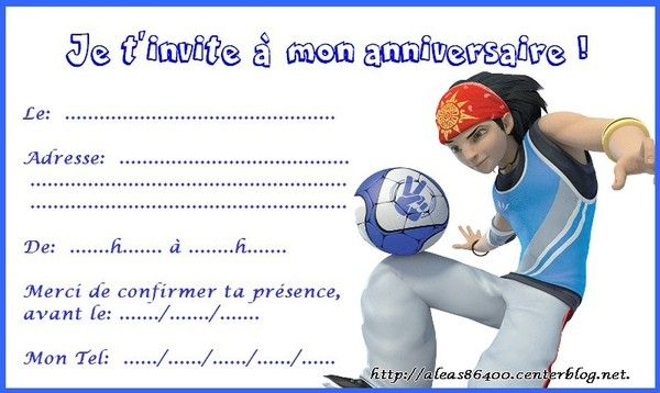 Fabuleux cartes invitations foot 2 rue extreme LQ46
