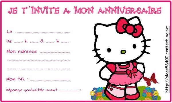 Carte invitation Hello Kitty 10