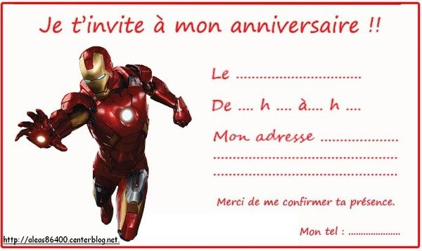 Cartes Invitations Iron Man