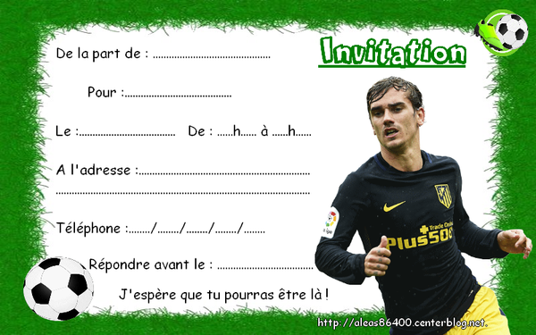 Souvent cartes invitations foot griezmann VA43