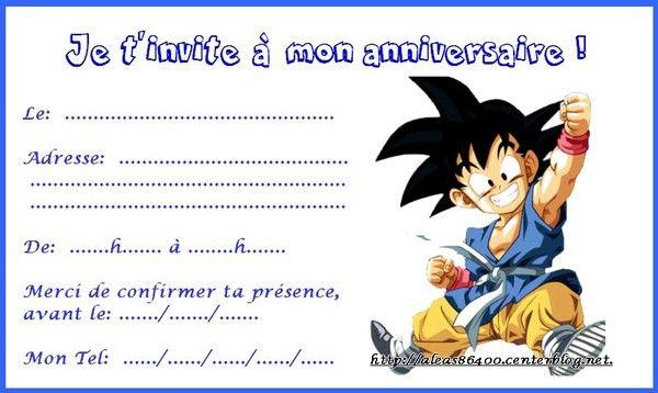 Carte Invitation Dragon Ball 08