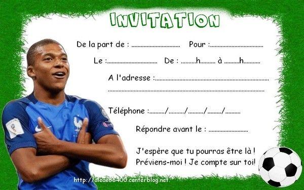 Cartes Invitations Foot Kylian Mbappe 01