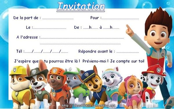 Top invitation Pat Patrouille 12 AF03