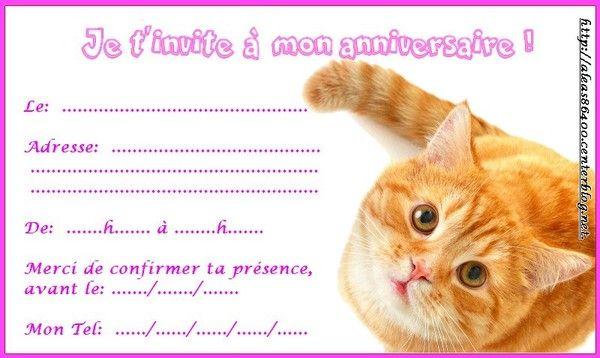 Bien-aimé carte invitation animaux chats PZ13