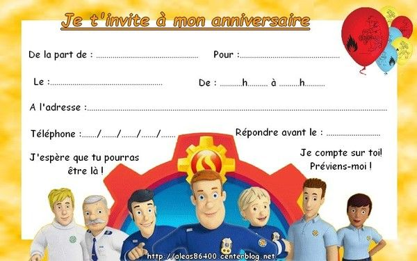 Fabulous invitation Sam le pompier 05 QJ13