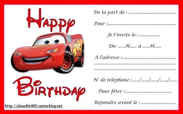 Populaire invitation Cars 21 NJ39