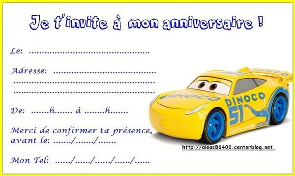 Exceptionnel invitation Cars 3 01 XV52