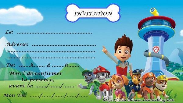 Carte invitation Pat Patrouille 03