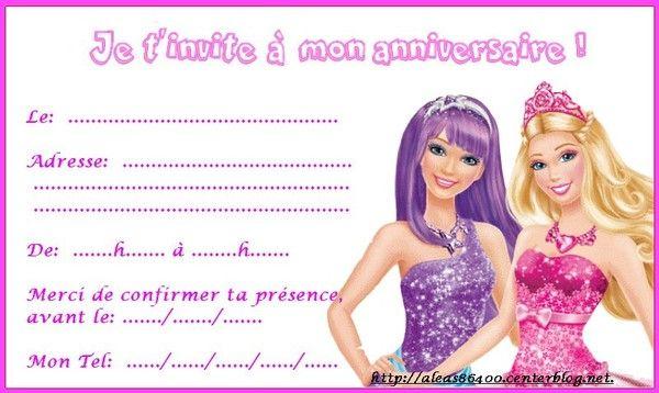 Carte invitation anniversaire barbie imprimer - Barbie a imprimer ...