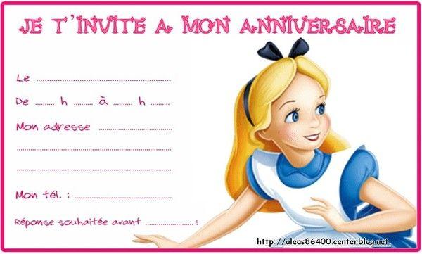 Carte invitation alice au pays des merveilles 01 - Anniversaire alice au pays des merveilles ...