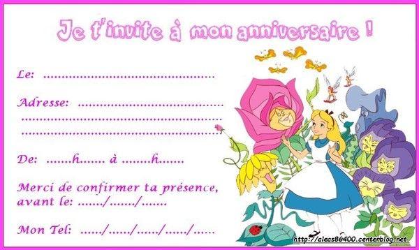 Carte invitation alice au pays des merveilles 03 - Anniversaire alice au pays des merveilles ...