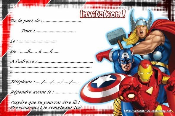 Cartes invitations avengers - Super heros fille marvel ...