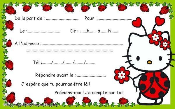 Carte Invitation Hello Kitty 14