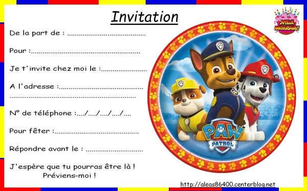 Top invitation Pat Patrouille 01 AF03