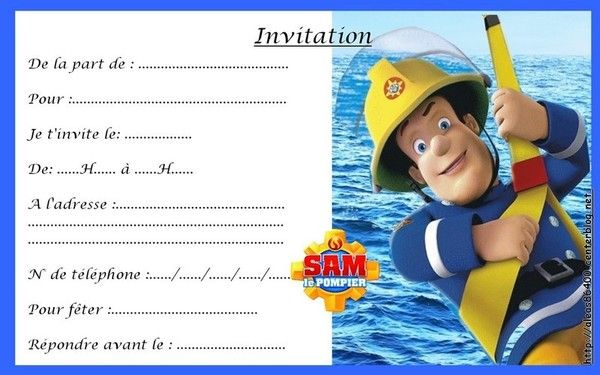 Carte Invitation Sam Le Pompier 04