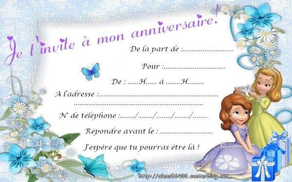 Cartes Invitations Princesse Sofia 01