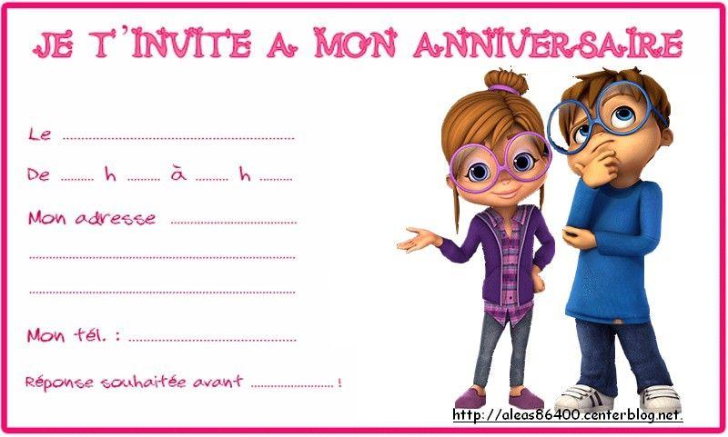 Carte Invitation Alvin Et Les Chipmunks 06