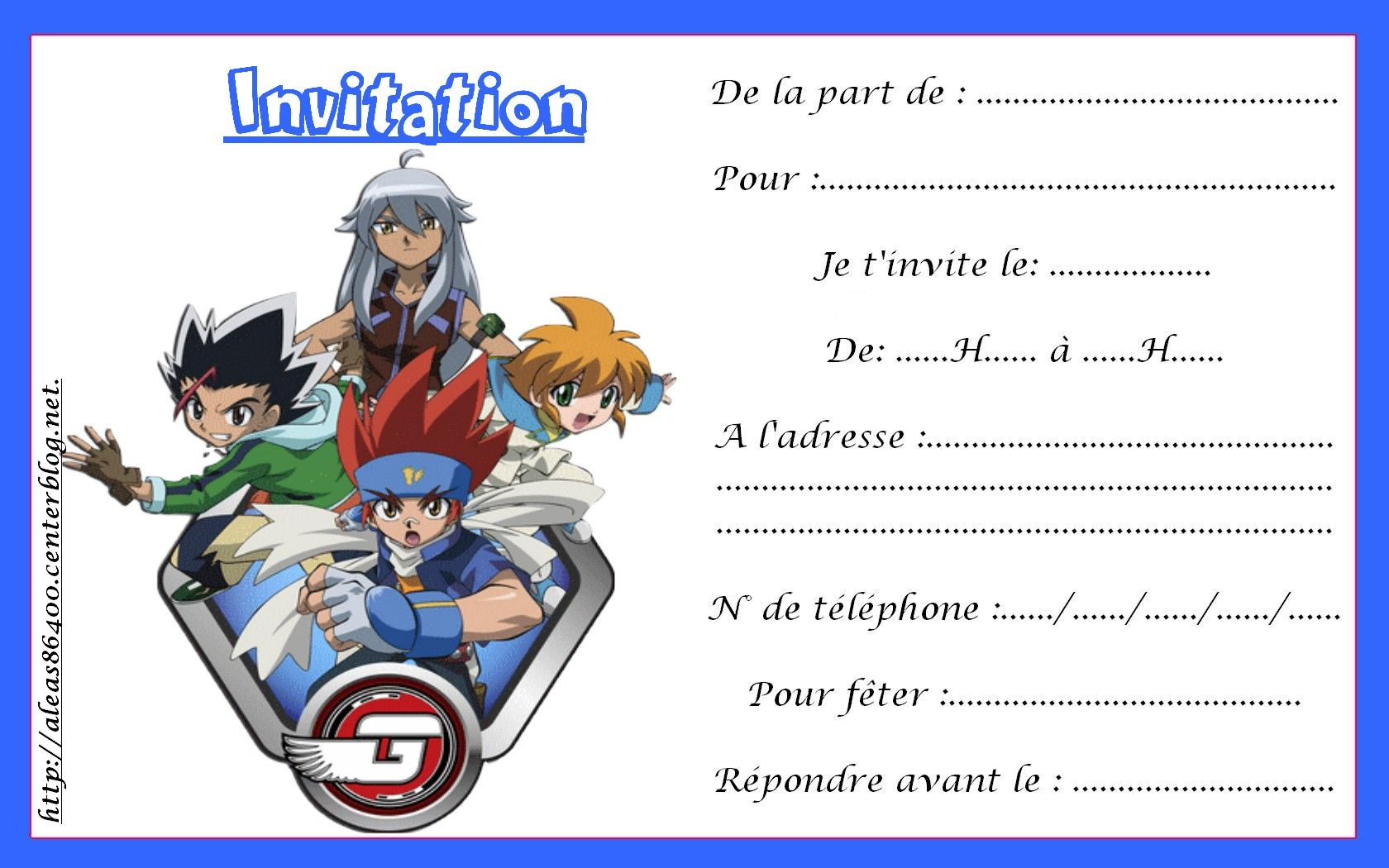 Cartes Invitations Beyblade