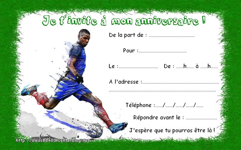 Cartes Invitations Foot Pogba
