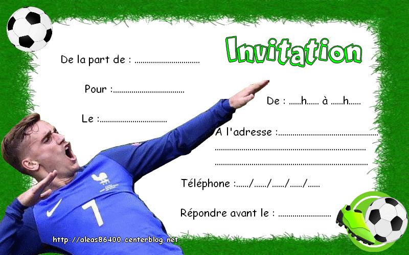 carte invitation anniversaire foot Cartes invitations Foot Antoine Griezmann 05