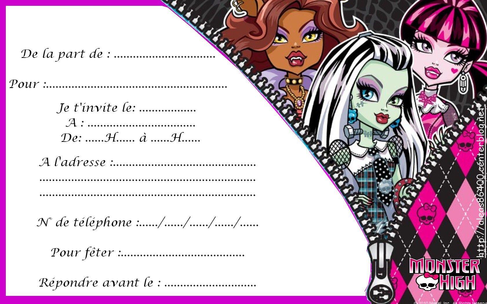 Cartes monster high - Carte invitation anniversaire monstre ...