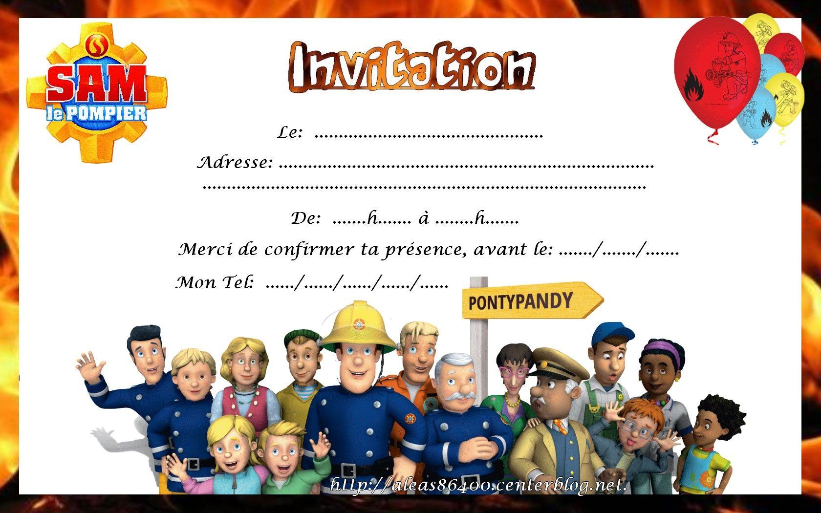Carte invitation sam le pompier 09 - Sam le pompier gratuit ...