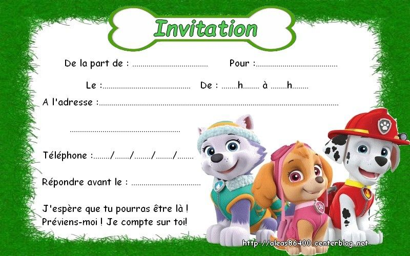 Carte Invitation Pat Patrouille 15