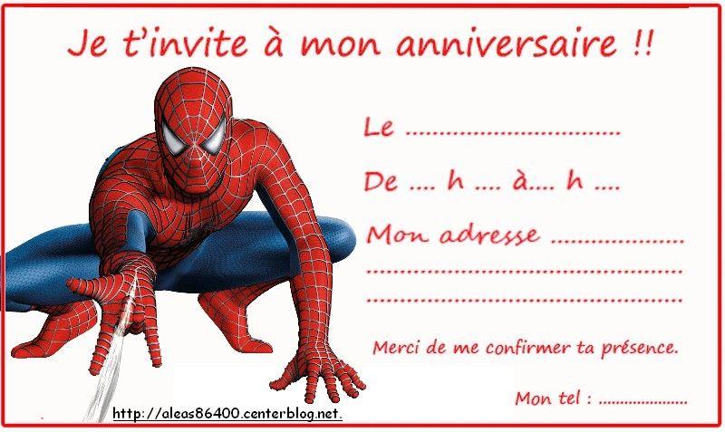 Cartes Invitation Spiderman