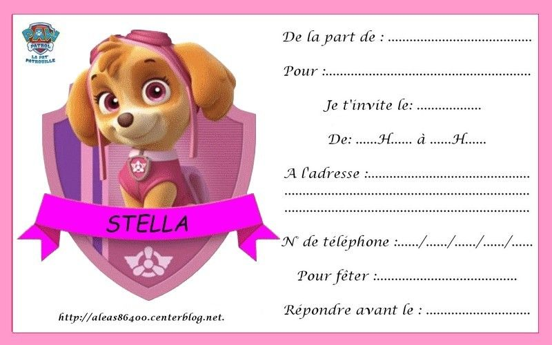 Carte Invitation Pat Patrouille 09