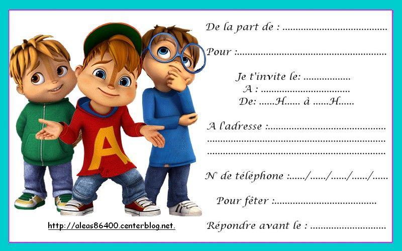Carte Invitation Alvin Et Les Chipmunks 09