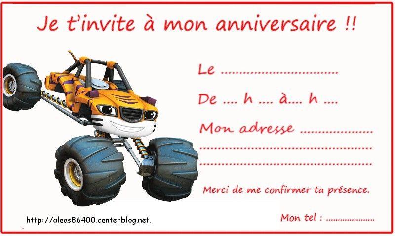 Cartes invitations blaze et les monster - Carte invitation anniversaire monstre ...