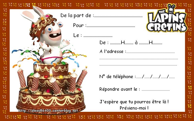 Cartes invitations lapin cretin - Lapin cretin a imprimer ...
