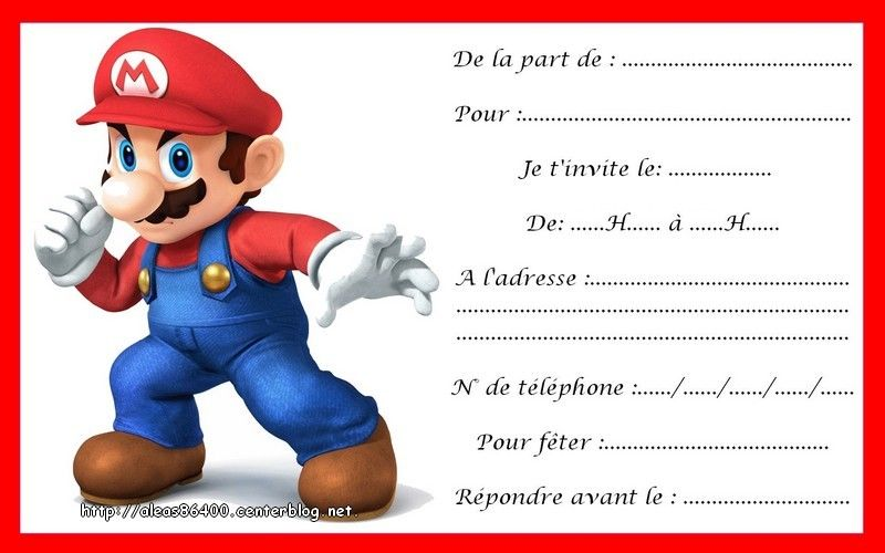 Cartes Invitations Mario 09